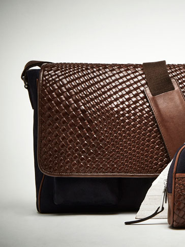 LEATHER CROSSBODY BAG WITH RUSTIC PLAITED DETAIL