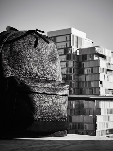 CONTRAST LEATHER BACKPACK WITH STITCHING DETAIL