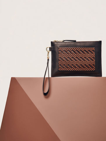 LIMITED EDITION TWO-TONE LEATHER CLUTCH WITH PLAITED DETAIL