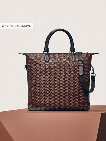 حقيبة جلدية بضفيرة ثنائية اللون طراز شوبر إصدار محدود