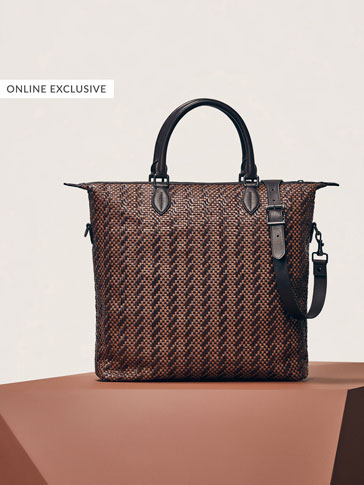 LIMITED EDITION TWO-TONE LEATHER TOTE BAG WITH PLAITED DETAIL