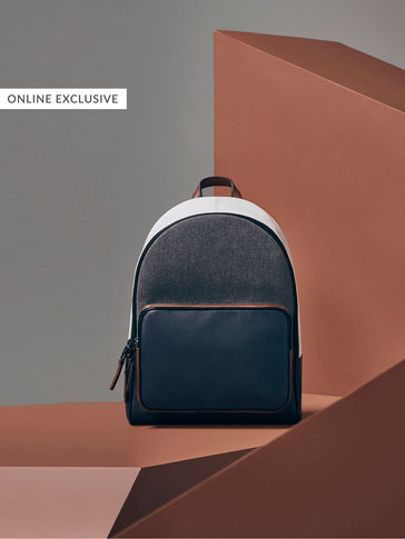 LIMITED EDITION CONTRAST COLOUR-BLOCK LEATHER BACKPACK