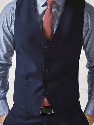 PERSONAL TAILORING BLUE TEXTURED WEAVE WAISTCOAT