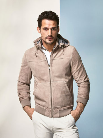 SUEDE JACKET WITH HOOD DETAIL