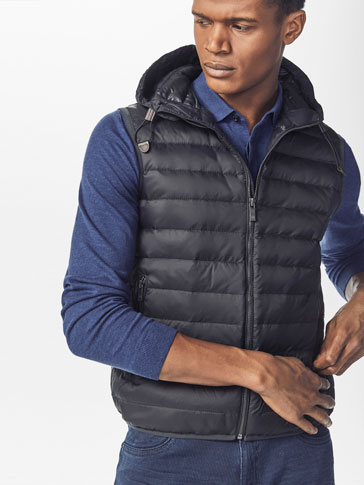 NAVY BLUE QUILTED FEATHER DOWN GILET