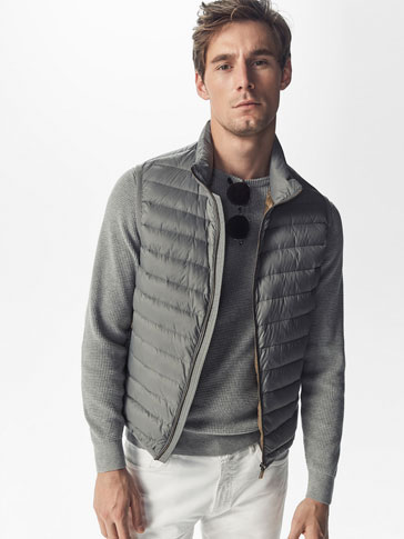 GREY QUILTED FEATHER DOWN GILET