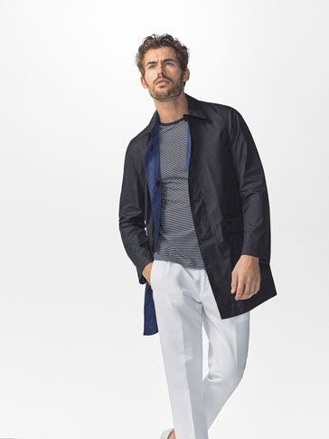 REVERSIBLE TECHNICAL NAVY BLUE TRENCH COAT