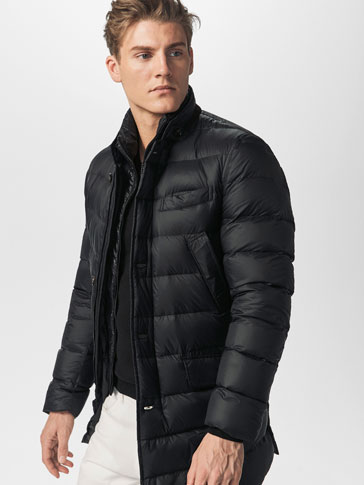 THREE QUARTER LENGTH FEATHER DOWN COAT WITH TRIM AND DETACHABLE COLLAR