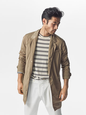 BEIGE TECHNICAL TRENCH COAT