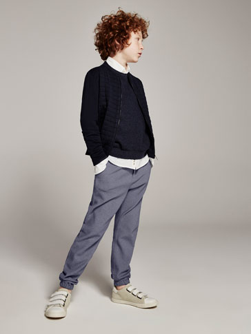 JOGGING-STYLE TEXTURED TROUSERS