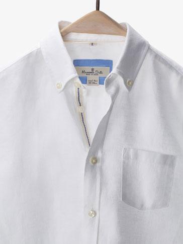 قميص كتان بتفصيل متباين
