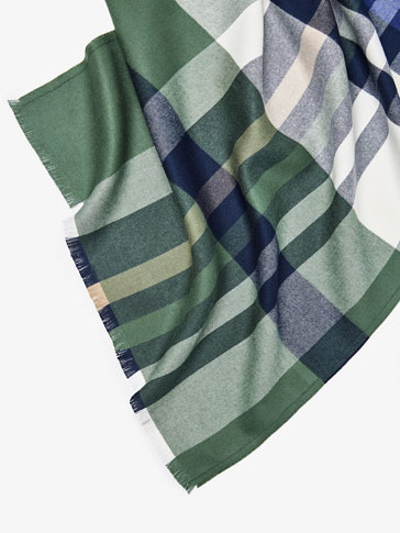 FOULARD WITH GREEN CHECK DETAIL