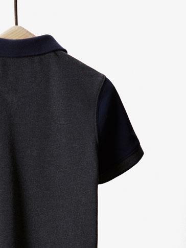 قميص بولو  ثنائي اللون متباين