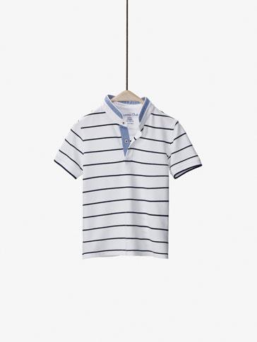 قميص بولو  مخطط بتفصيل متباين