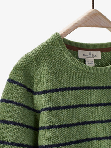 TEXTURED WEAVE GREEN SWEATER WITH STRIPES