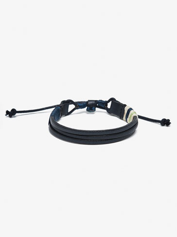 LEATHER BRACELET WITH CONTRAST CORD DETAIL