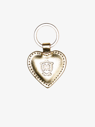 LEATHER KEYRING WITH HEART DETAIL