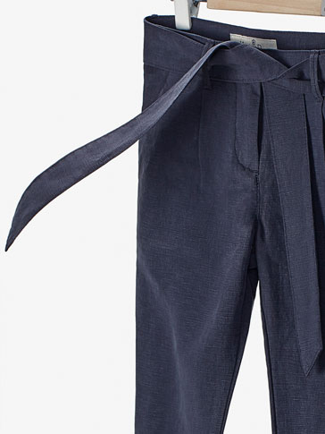 TROUSERS WITH TIE DETAIL
