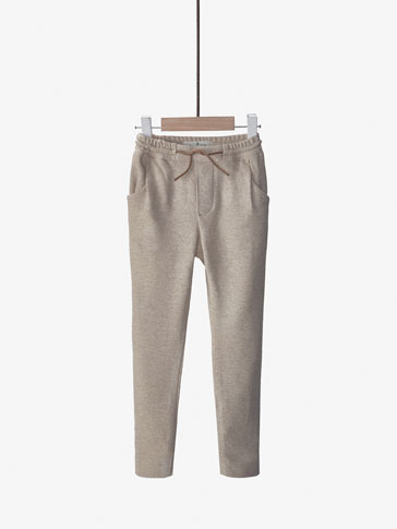 TEXTURED WEAVE JOGGING-STYLE TROUSERS