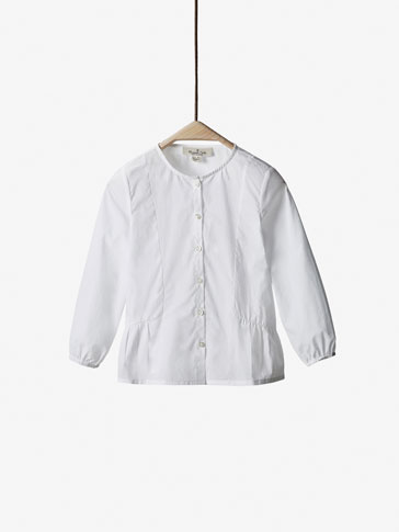 WHITE SHIRT WITH GATHERED DETAIL