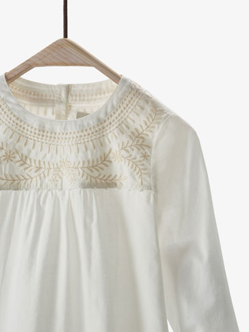 SHIRT WITH YOKE EMBROIDERY DETAIL