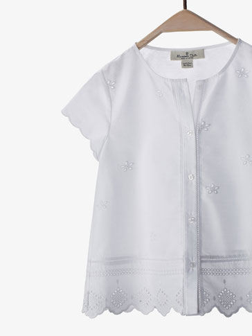 BLOUSE WITH EMBROIDERED TRIMS