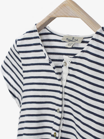 STRIPED T-SHIRT WITH FRILL DETAIL