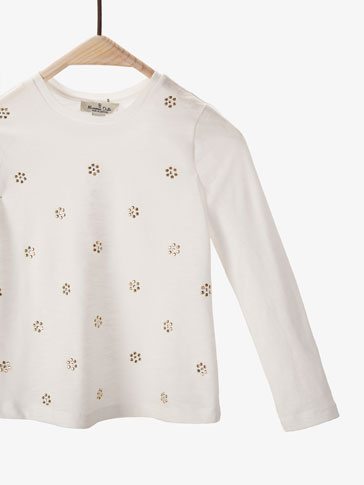 T-SHIRT WITH METALLIC FLORAL DETAIL