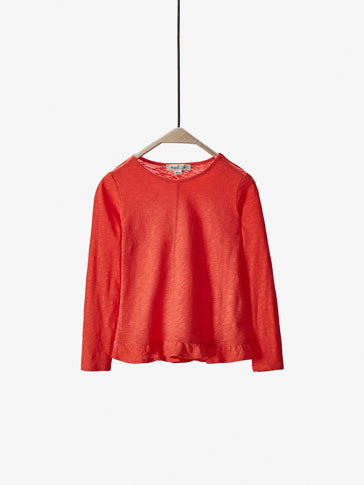 CORAL T-SHIRT WITH FRILL DETAIL