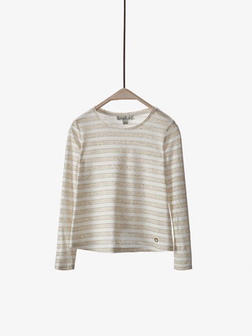 STRIPED CONTRASTING T-SHIRT WITH SHINY DETAIL