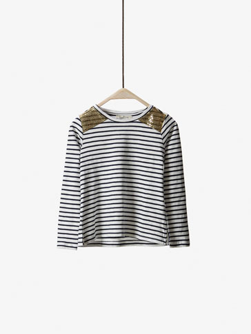 NAUTICAL STRIPED T-SHIRT WITH SEQUINS