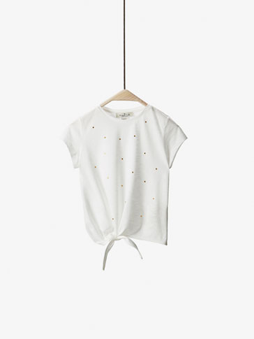 STUDDED T-SHIRT WITH TIE DETAIL