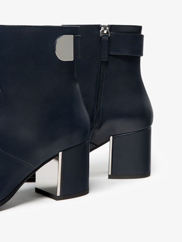 BLUE SNAPPED LEATHER ANKLE BOOTS