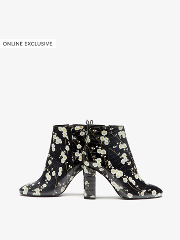 LIMITED EDITION LEATHER ANKLE BOOTS WITH FLOWERS