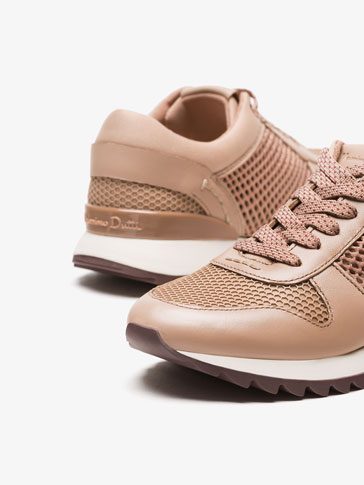 NUDE MESH LEATHER SNEAKERS
