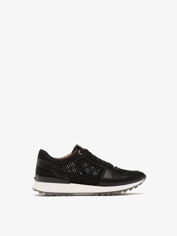 BLACK MESH LEATHER SNEAKERS