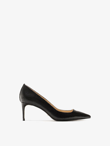 BLACK TEGUS LEATHER HIGH-HEEL SHOES