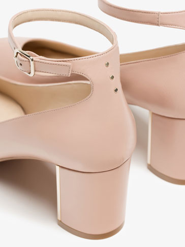 NUDE ANKLE STRAP HIGH-HEEL SHOES