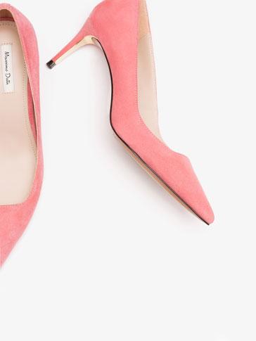 حذاء نسائي كعب عالي زهري اللون وبتفصيل معدني