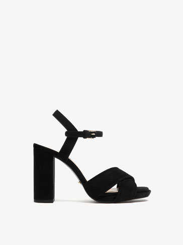 SUEDE LEATHER CROSSOVER SANDALS
