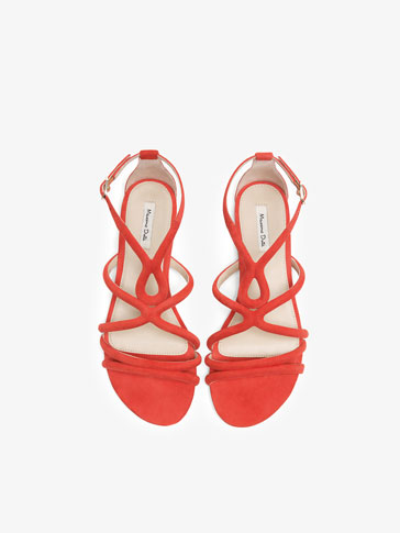 TUBULAR CORAL LEATHER SANDALS