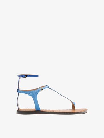 BLUE LEATHER ANKLE STRAP SANDALS