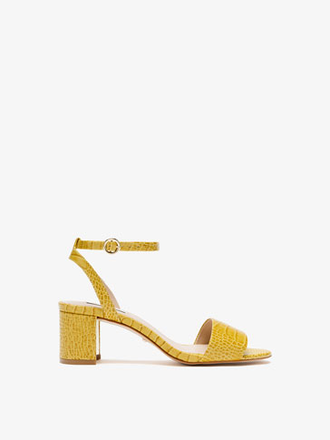 YELLOW MOCK CROC LEATHER SANDALS