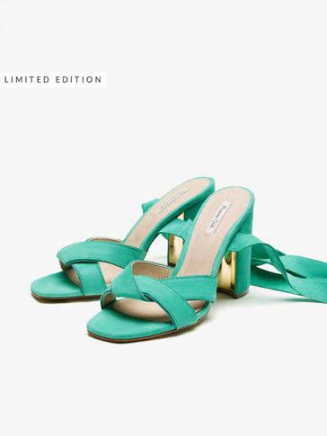 TURQUOISE LACE-UP SANDALS