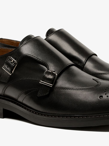 BLACK LEATHER MONK SHOES WITH BROGEUING