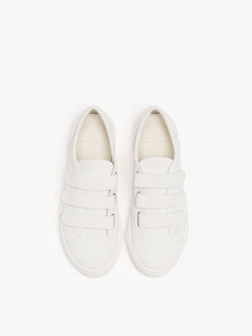 SOFT WHITE LEATHER SNEAKERS WITH STRAPS