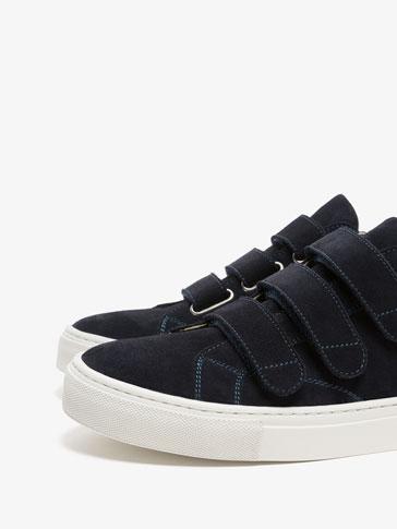 حذاء رياضي جلد أشرطة أزرق