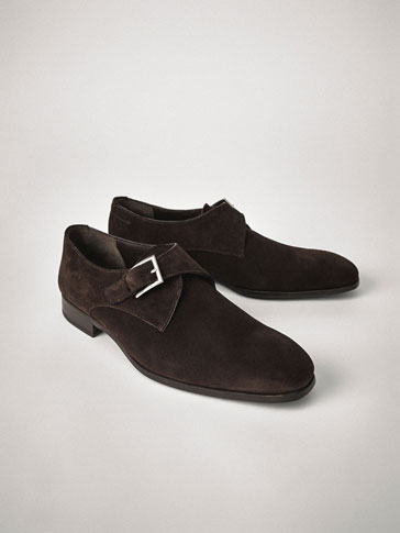 PERSONAL TAILORING SPLIT SUEDE LEATHER BLUCHERS WITH BUCKLE