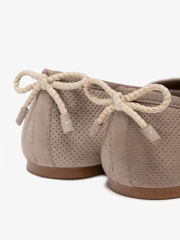 TAUPE PERFORATED BALLERINAS