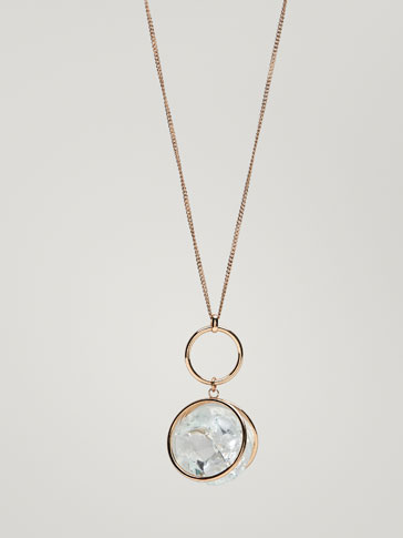 NECKLACE WITH HOOP AND SPHERE